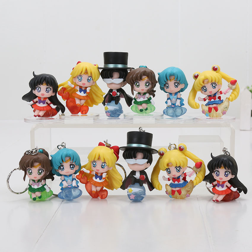 6Pcs/Set Anime Cartoon Sailor Moon Tsukino Usagi Tuxedo Mask Sailor Venus Mercury Mars Jupiter Action Figure Keychain Model Toy