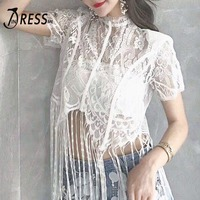 INDRESSME Sexy Tassels Hollow Out Floral Lace Women Cropped Top Fashion Perspective Short Women Tank Top Casual Slash Top