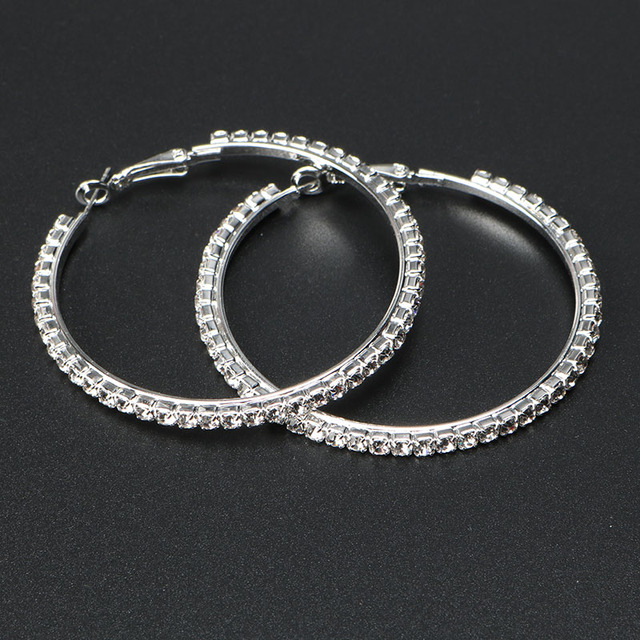 e299a95ce60d9 Fashion Elegant Hoop Earrings Silver Plated Big Round Crystal Earrings  Design for Women Girls Wedding Party Gift Oorbellen