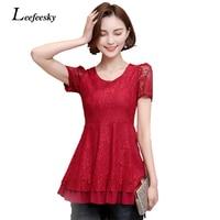 Leefeesky Summer Style Women Blouses 2017 Plus Size Short Sleeve Lace Blouse Elegant Korean Fashion Clothing