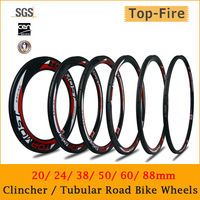 700C Carbon Road Wheels 20 24 38 50 60 88mm Clincher Tubular 25mm Width Road Bike