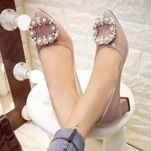 2016 CHAUDE femmes pompes de luxe fait main perles femmes chaussures carrés talons bas bout pointu qualité bureau partie talons nude ALF503