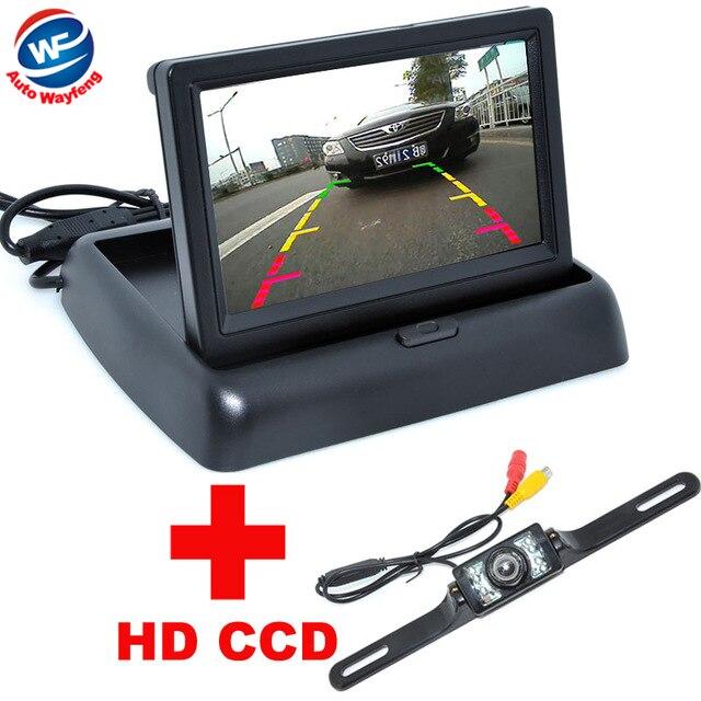 a5136cb6a0247 Gran angular de 170 grados visión nocturna de visión trasera cámara de  reserva 4.3 LCD plegable HD Monitores auto asistencia de aparcamiento  cámara del ...