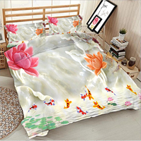 Jade carving colored lotus and jumping fish 3d effect photo bed linen can be customized photo pattern