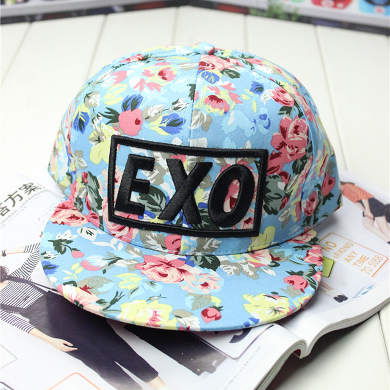 108e0cdfb17 New 2014 Brand Design Colorful Flowers Print Snapback Fashion Words EXO Baseball  Cap Women   Men Hip Hop Hats Adjustable-in Baseball Caps from Apparel ...