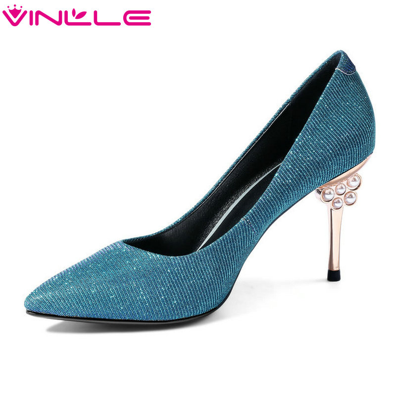 VINLLE 2018 Women Shoes Genuine Leather Solid Thin High Heel  Slip On Fashion Platform Sexy Ladies Wedding Pumps Size 34-43 nayiduyun women genuine leather wedge high heel pumps platform creepers round toe slip on casual shoes boots wedge sneakers