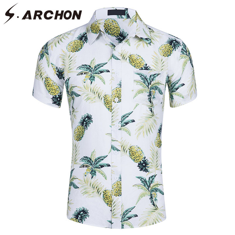 S.ARCHON Summer Casual   Polo   shirt Men US Size Hawaiian Style Short-Sleeved Shirts Cotton Beach Quick Dry Shirt Men's 16 Colors