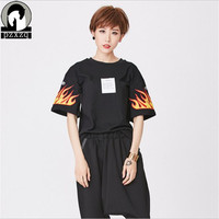 2019 Cotton Women Letter T shirt Large Size Short Sleeve Rock Punk Tattoo Fire Print Loose Tshirt Femme Fitness Brand Clothing