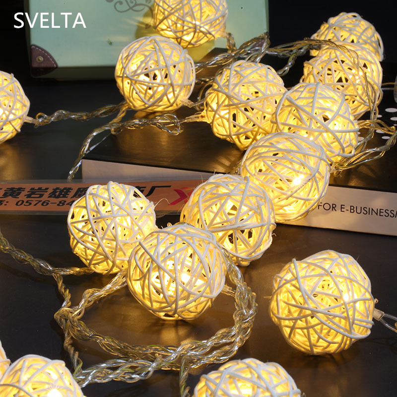 SVELTA 5CM 20Bulb Big Rattan Ball LED String Lights Gerlyanda Retro Garland Lantern Fairy Lights Xmas Holiday Wedding Decoration
