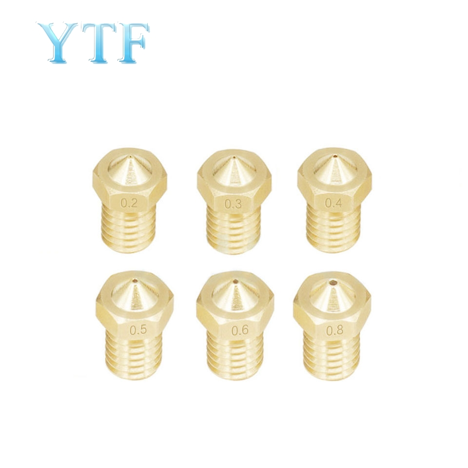 100pcs 3D Printer Parts E3D V5 V6 M6 Threaded Nozzle 0.2 0.25 0.3 0.4 0.5 0.6 0.8 1.0mm For 1.75mm 3.0mm Filamnet Full Metal