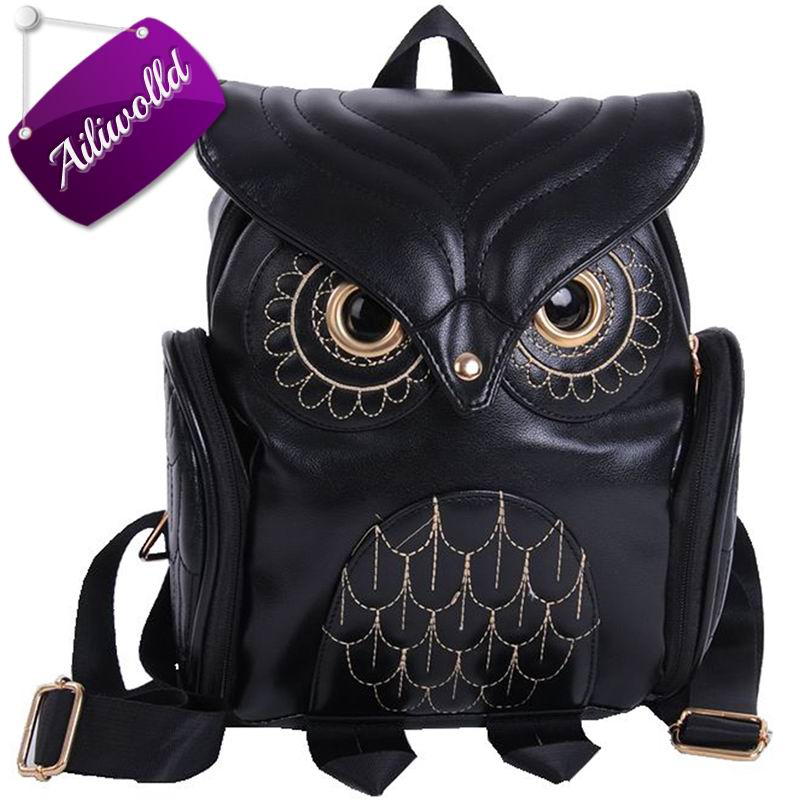 Fashion Women's Backpack 2017 Cute Owl Backpacks PU Leather School Bags For Teenagers Girls Female Rucksack Sac Mochila Feminina 2016new rucksack luxury backpack youth school bags for girls genuine leather black shoulder backpacks women bag mochila feminina