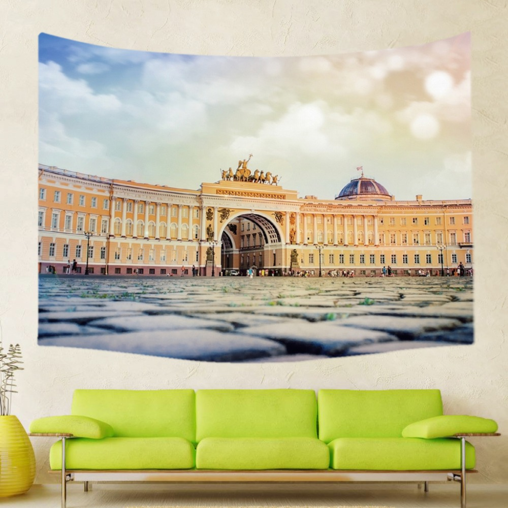 World Famous Building Pattern Polyester Tapestry Wall