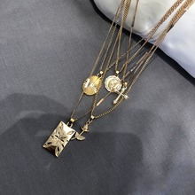 Trendy Layered Rose Cross Pendant Choker Boho Necklace Set Golden Carve Portrait Coin Long Chain gold Women Gift