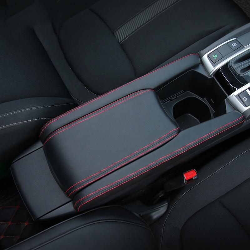 Caixa Do Console Apoio de Braço de couro Do Carro Tampa Manga Almofada Centro de Caixa de Armazenamento Caso da tampa Do Tapete Para Honda Civic 10th 2016 2017 2018 Acessório