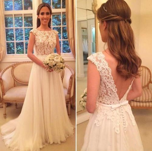 Backless Vestido De Noiva 2019 Wedding Dresses A-line Cap Sleeves Tulle Lace Beach Boho Dubai Arabic Wedding Gown Bridal