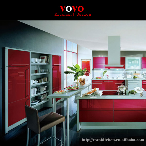 2016 latest design high gloss red lacquer kitchen cabinet ...