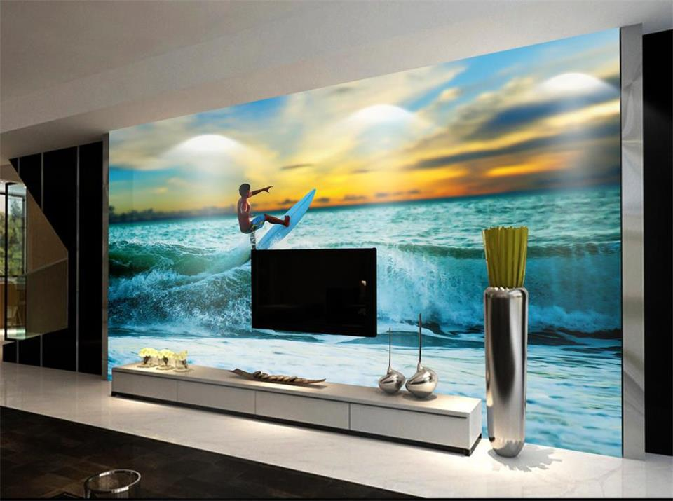 custom 3d photo wallpaper living room mural sticker surf sea sunset seascape 3d painting sofa TV background wall non-woven mural 3d rock sea floor sticker