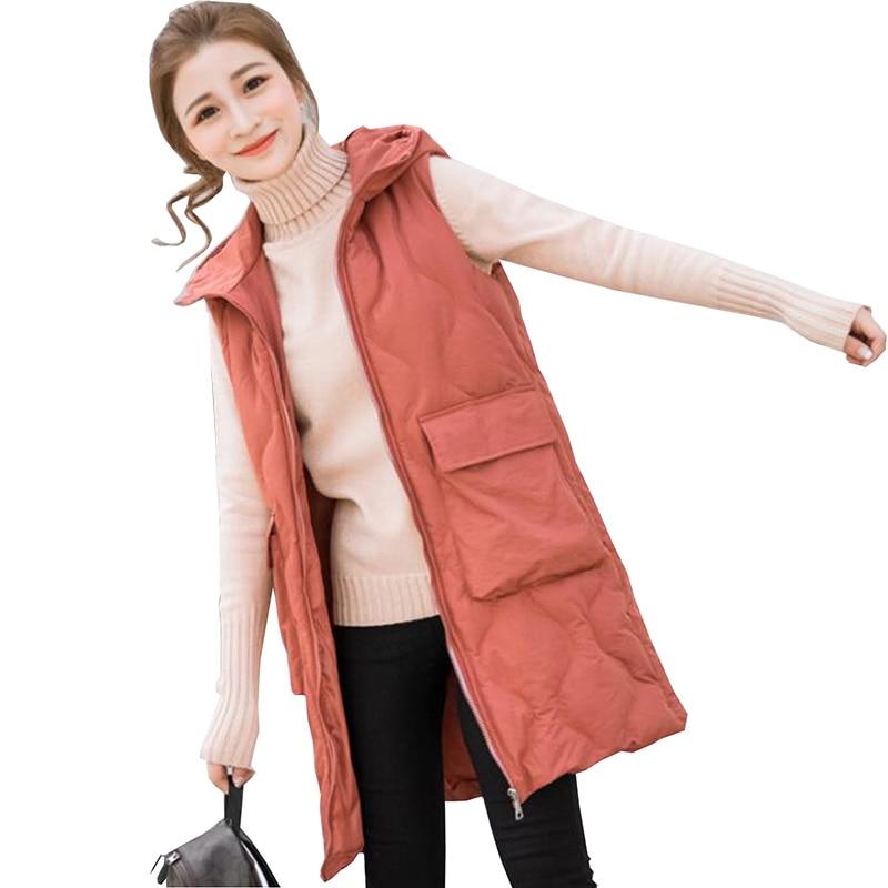 Moda Gilet Donna Giacca 2018 Autunno Inverno Mid-lungo Giù Di Cotone Imbottito Maglia Femminile Senza Maniche Giacche Con Cappuccio Addensare Cappotto Giada Bianca