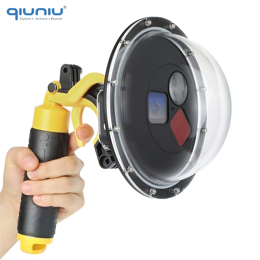 QIUNIU 60M Filters Switchable Dome Port with Trigger Underwater Waterproof Dome for GoPro HERO 5 6