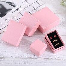 24 stücke Platz Papier Schmuck Verpackung Box Hohe Qualität 8*5cm Rosa Halskette Ring Ohrringe Armband Geschenk Box für Valentinstag