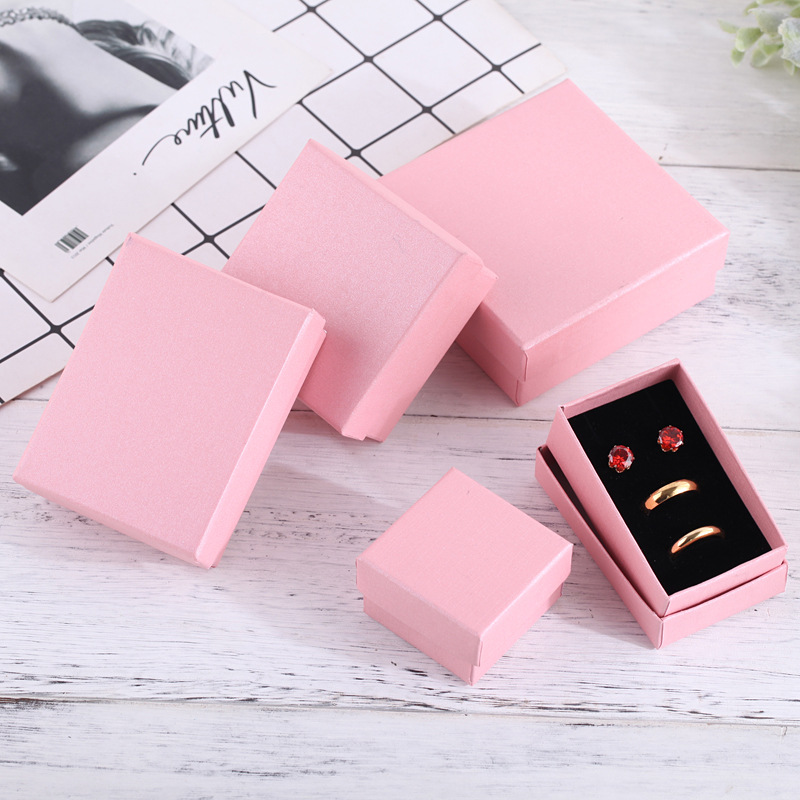 24pcs Square Paper Jewelry Packaging Box High Quality 8*5cm Pink Necklace Ring Earrings Bracelet Gift Box For Valentine's Day