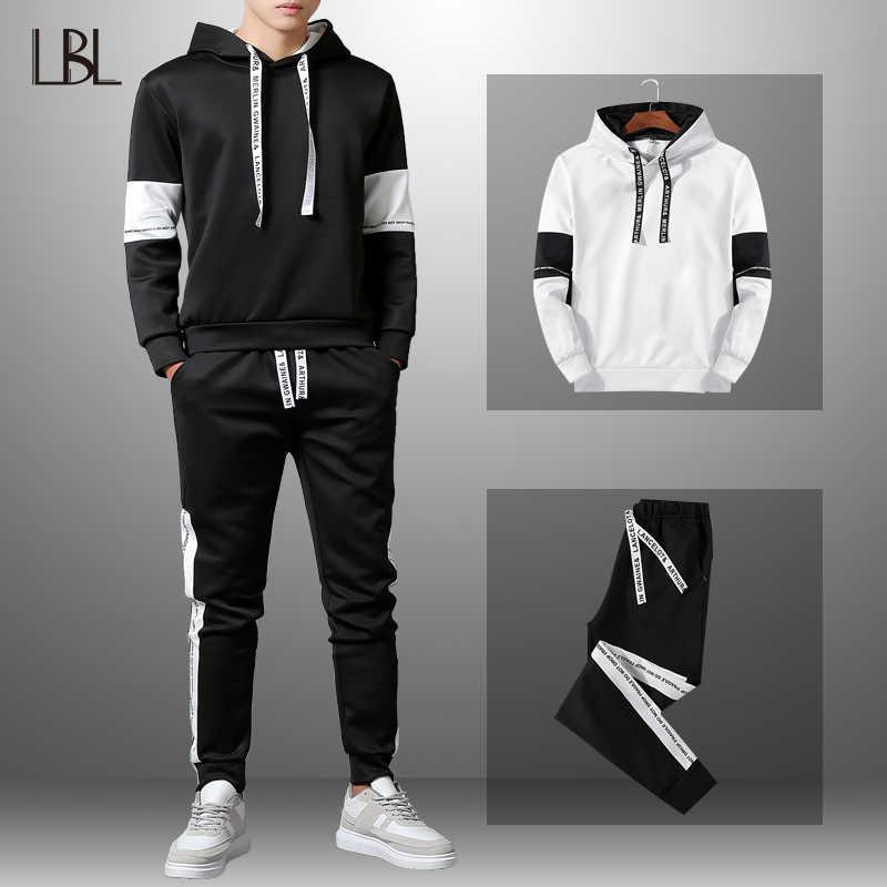 Мужской спортивный костюм LBL, комбинированный тренировочный костюм с надписями для осеннего или весеннего сезона, модная толстовка для мужчин