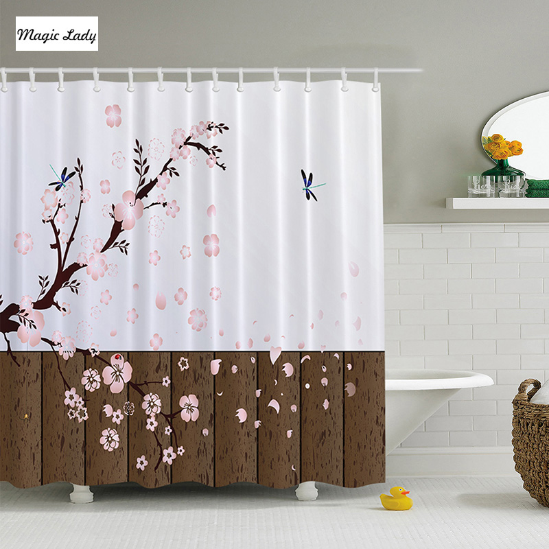 Decorative Shower Curtain Japanese Decor Cherry Blossom