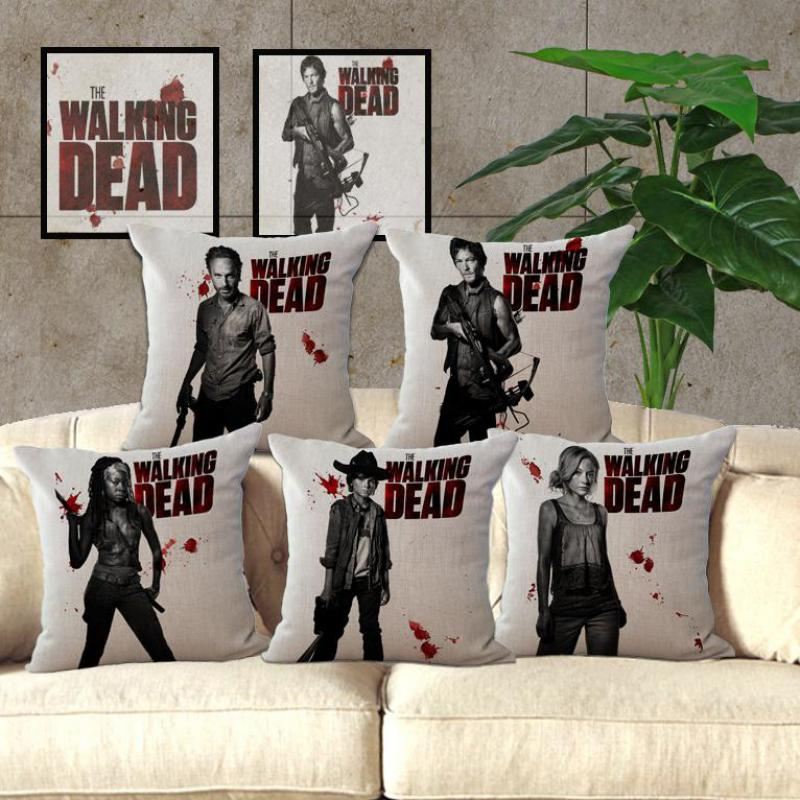 Clear Stamp New Arrival The Walking Dead Pillow Case Car Sofa Chair Cushion  Cover American Pop