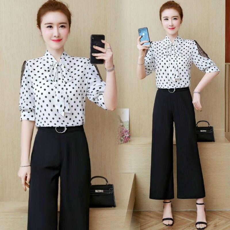 Pantalon à jambes larges costume femme nouvel été femmes dot print haut chemisier et pantalon deux pièces ensemble de vêtements dames mode coréenne