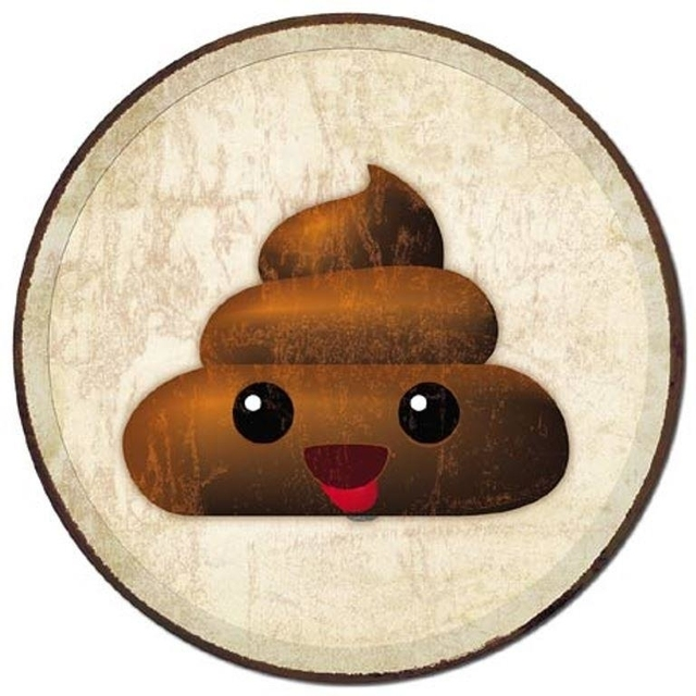 Poop Emoji Funny Humorous Round 11.75″ Tin Metal Sign