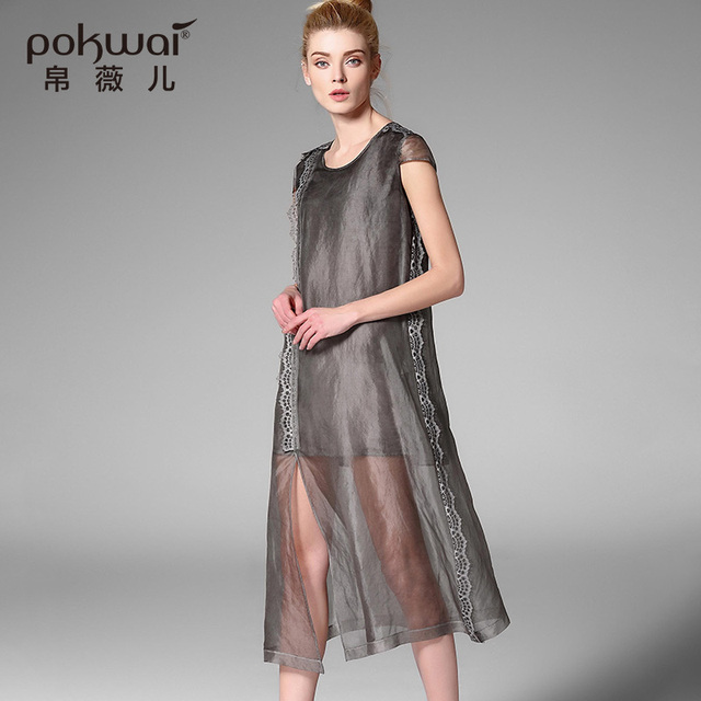 POKWAI Elegant Long Casual Embroidery Summer Silk Dress Women Fashion High  Quality 2017 New Arrival Short Sleeve O-Neck Dresses