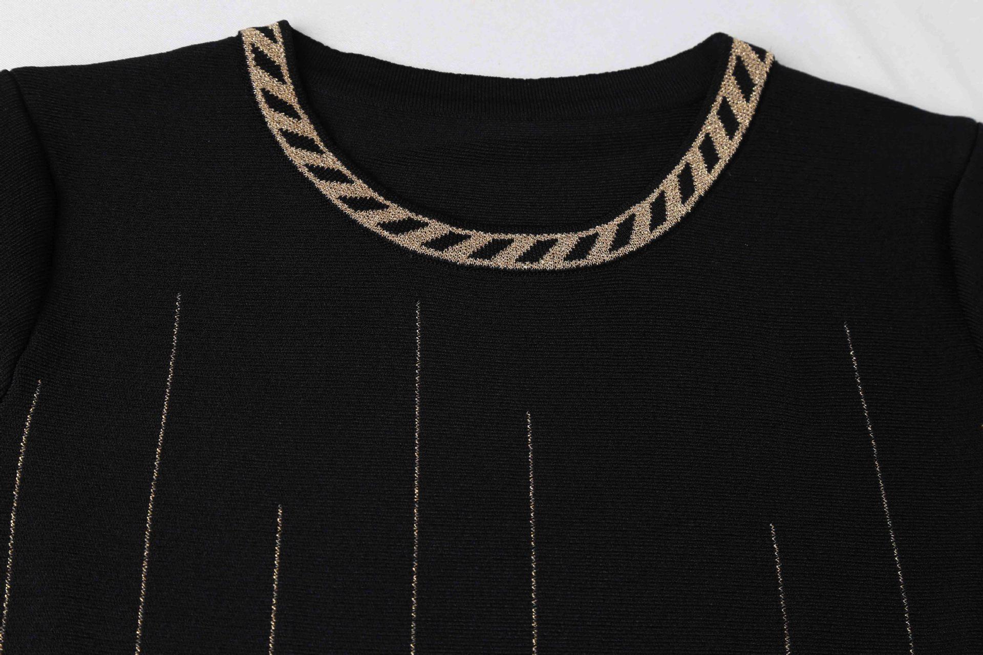 Stretch Noir Slim Courtes Maille 181217gw04 Manches Robe À Nouveau qzFw6pF