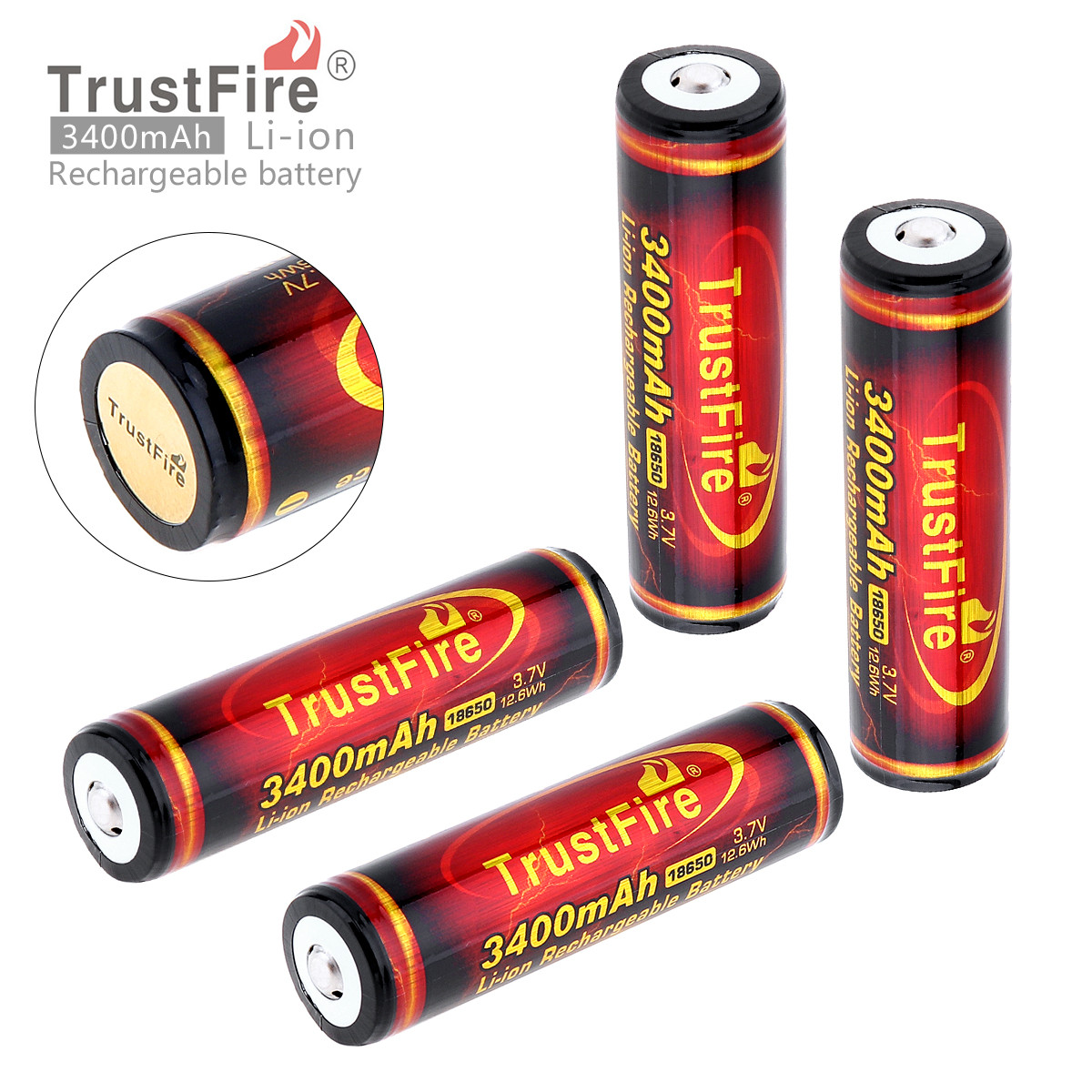 4pcs TrustFire 3 7V 18650 Battery High Capacity 3400mAh Li ion Rechargeable Battery with Protected PCB