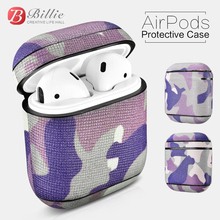 Earphone accessories Case Camouflage Pattern Series Real Leather For Apple Airpods Protective wireless Cover