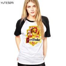 Женская футболка, Магическая школа, Слизерин/Хаффлпафф/Рейвенкло/Гриффиндор, значок колледжа, блуза, хлопковая футболка для женщин, футболки
