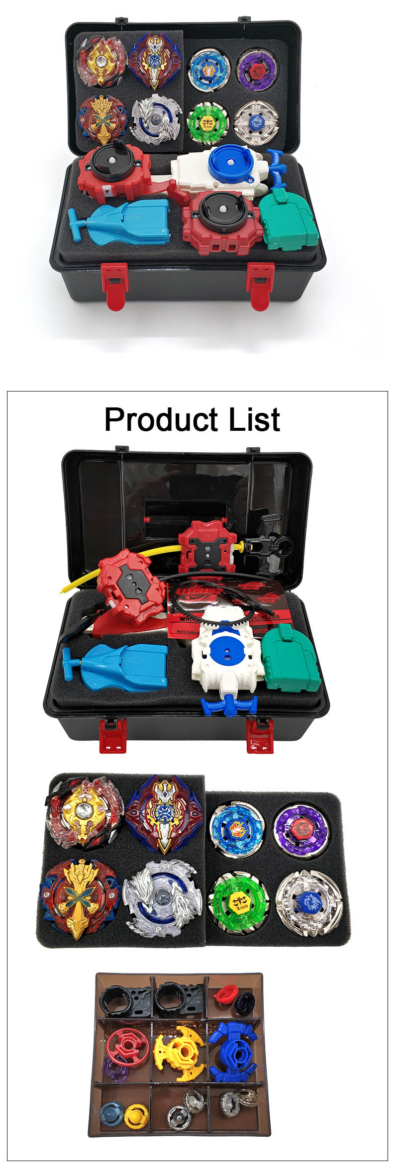 14PCS Toupie Beyblade burst Set Masters Launcher Spinning Top ...