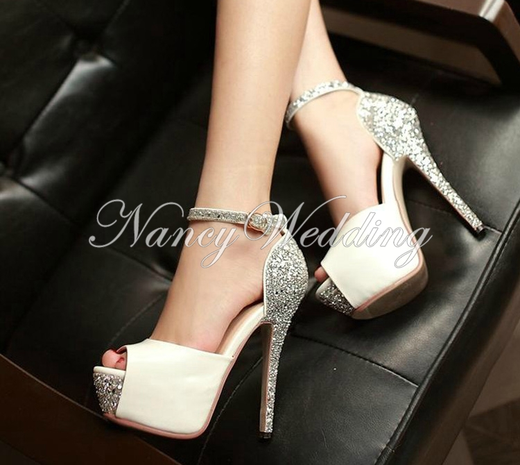 Beautiful stiletto pumps peep toe wedding shoes woman 39 s for Heels for wedding dress
