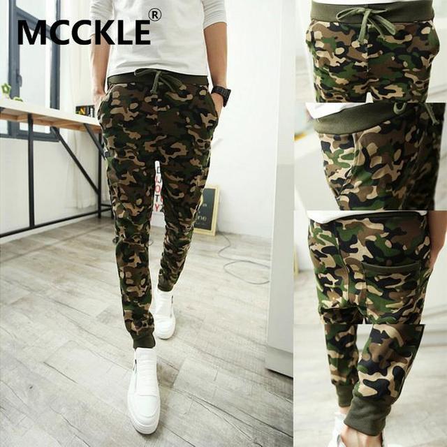 Mcckle para hombre hip hop harem camo joggers material algodón patrón joggers hombres harem p013