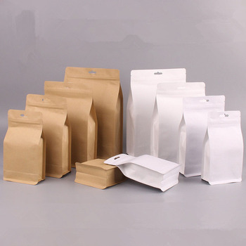300pcs/lot Big Stand-up Kraft Paper Food Packaging Bag Aluminized Pouch for Food Nuts Cookie Candy Baking Tea