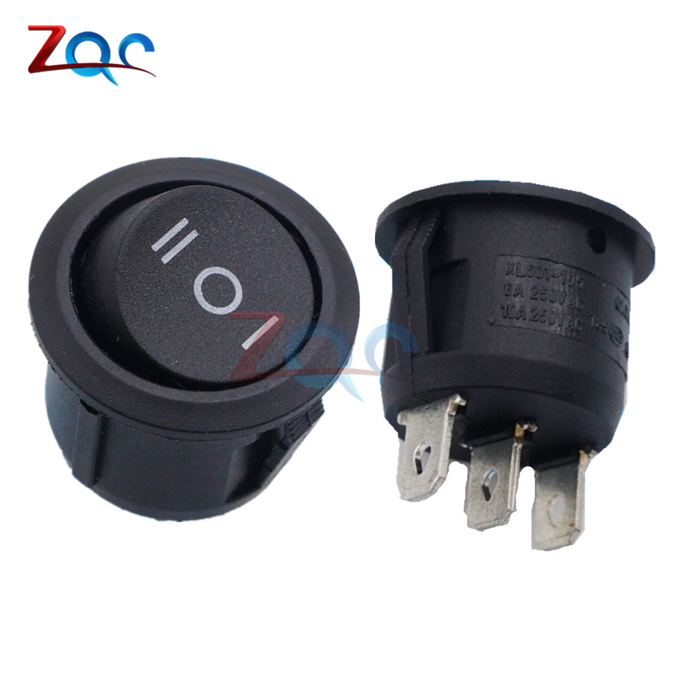 5PCS Mini Round Black 3 Pin SPDT ON-OFF-ON Rocker Switch Snap-in Car Boat Toggle цена