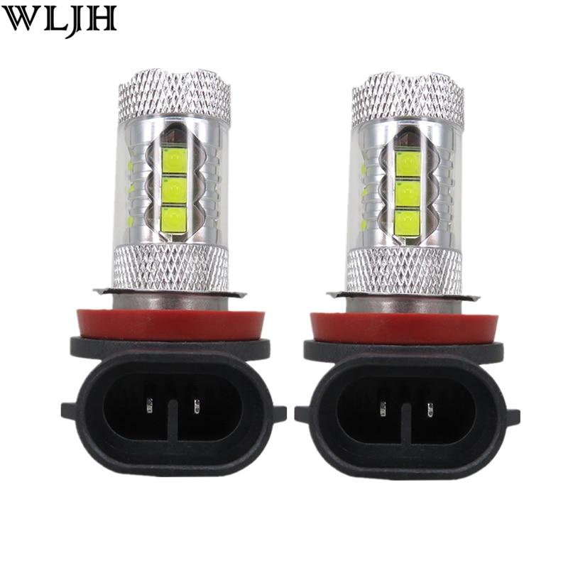 WLJH 2pcs 6000K 80W 1200 Lumen H8 Led Lens Car Fog Light Daytime Running Light Driving Lamp DRL Bulb 12v 24v 30v White