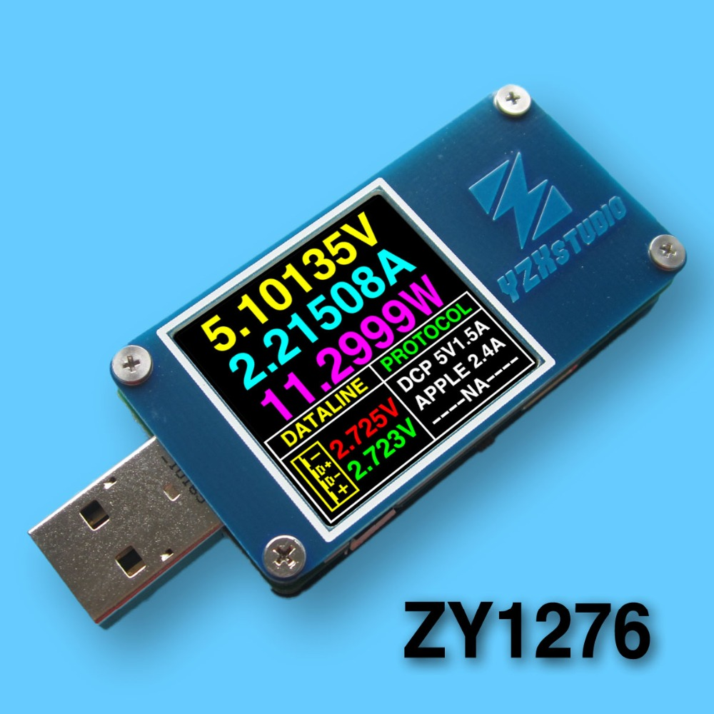 YZXstudio ZY1276 blue table ZY1270 color meter USB PD TC voltage and current capacity tester