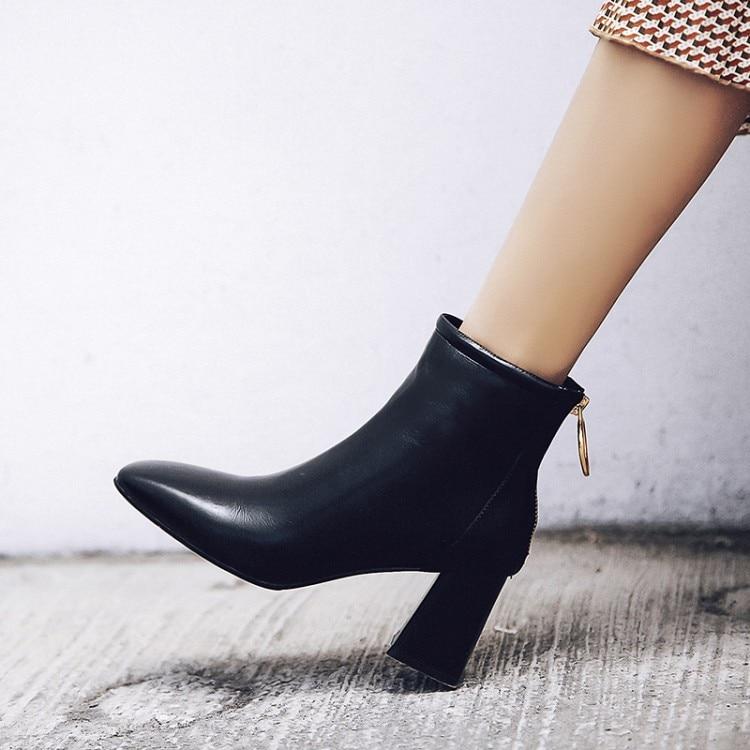 Tacón Pie Otoño Zapatos Mujeres Invierno Dedo Tobillo Gran Alto Grueso Las Nude E 2019 Botas Tamaño Cuero Del negro {zorssar} Para 43 De Cuadrado a6qFwXxI