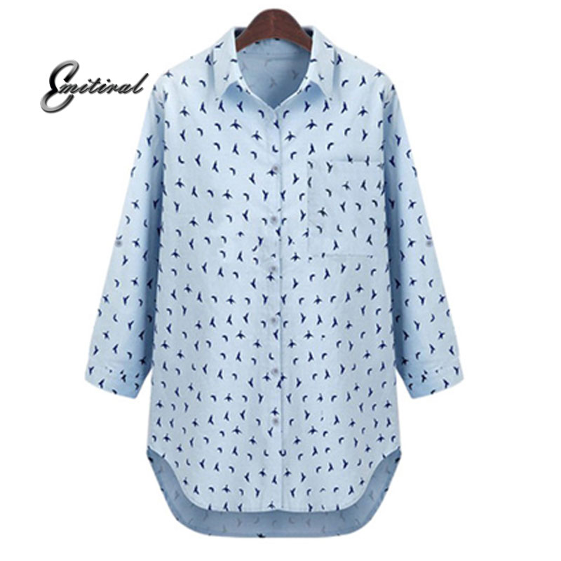 2018 Autumn European Style Plus Size 5XL Loose Women Blause Elegant Print Birds Ladies Shirts Cotton Casual Work Office Tops