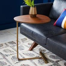 Мобильное твердое дерево, кованое железо диван угловой несколько ленивый прикроватный столик для чтения креативный простой овальный журнальный столик
