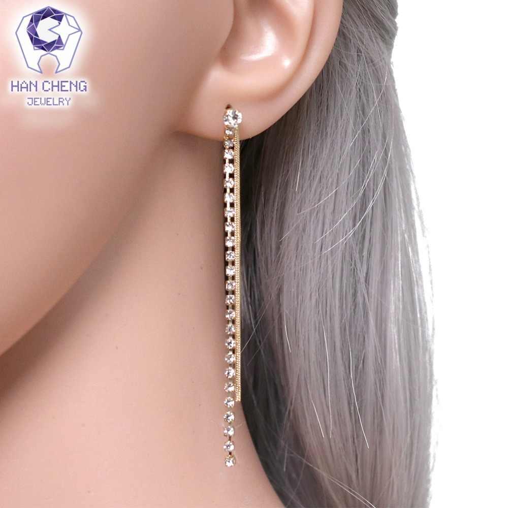 HanCheng New Fashion Chain Golden Silver Dangle Hanging Long Gem Stone Rhinestone Drop Earrings For Women Jewelry brincos bijoux