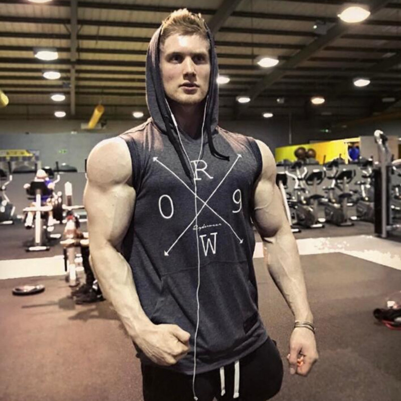 Mens Bodybuilding Tank top 2018 Summer New Gyms Fitness Sleeveless Sweatshirt Cotton Hooded Vest Man Casual Crossfit Clothing
