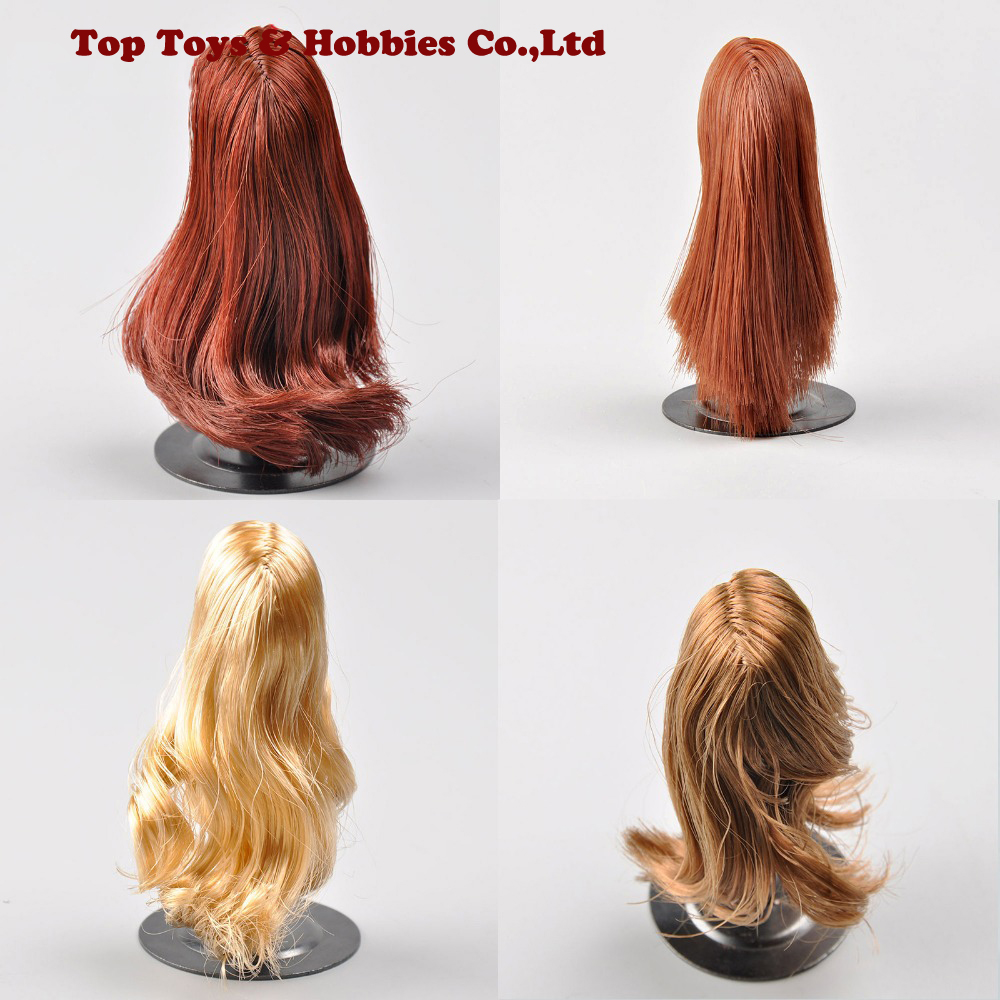 1:6 Scale Wig Figure Long Curly Hair Red / Brown/ Blonde Red Brown Hair  Fit 12