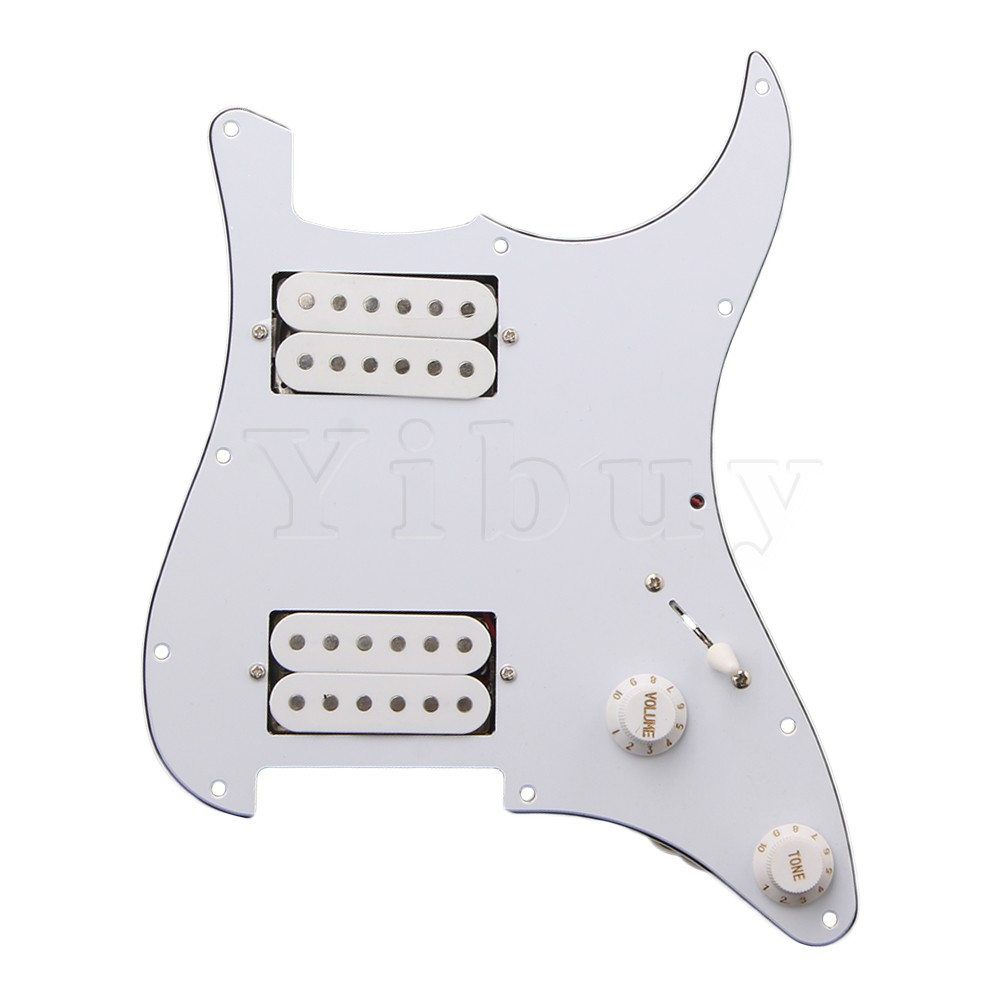 Yibuy 3PLY Blanc Loaded pickguard HH Pour Humbuckers Guitare