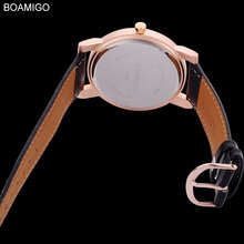 BOAMIGO 2017 new popular brand men watches fashion casual quartz watches ultra-thin black large simple dials leather strap